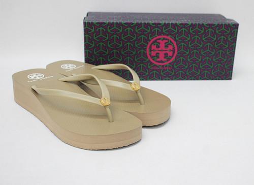 TORY BURCH Ladies Khaki Green Wedge Thin Flip Flop Sandal Shoes US9 UK7 BNIB
