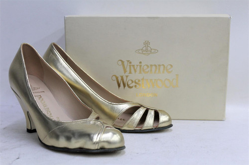 VIVIENNE WESTWOOD Ladies Gold Openwork Leather Kitten Heel Sunny Shoes UK4