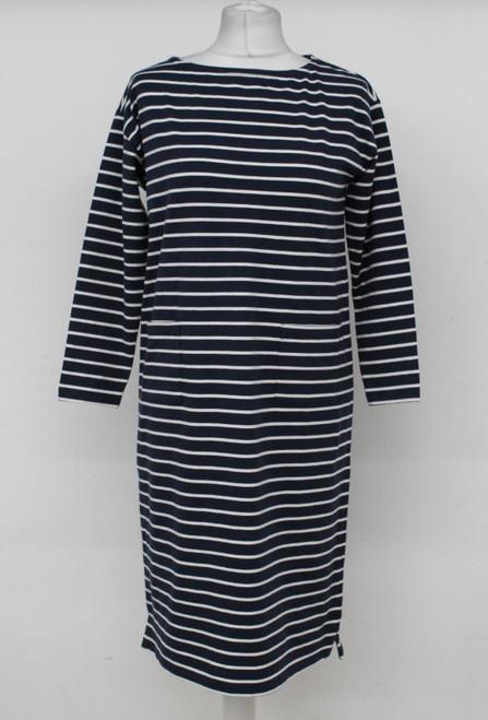 JAEGER Ladies Blue Striped Knee Length 3/4 Sleeve Round Neck Shift Dress XS BNWT