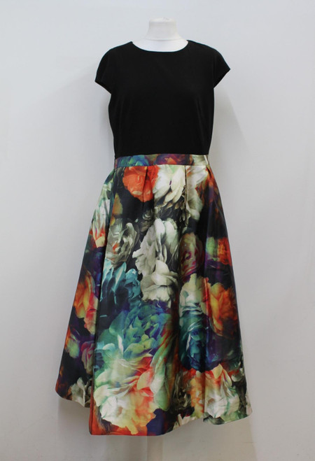TED BAKER Ladies Black Floral Round Neck Cap Sleeve Dress w Pockets TB5/UK16