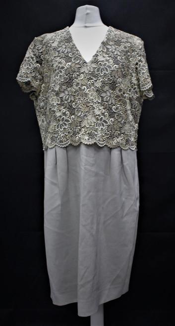 JAEGER Ladies Beige Lace V Neck Short Sleeve Knee Length Shift Dress UK16