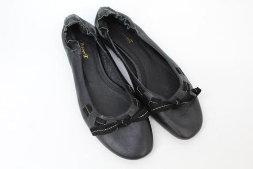 L.K.BENNETT Ladies Black Leather Elasticated Strap Ballet Flat Shoes UK6.5 EU39
