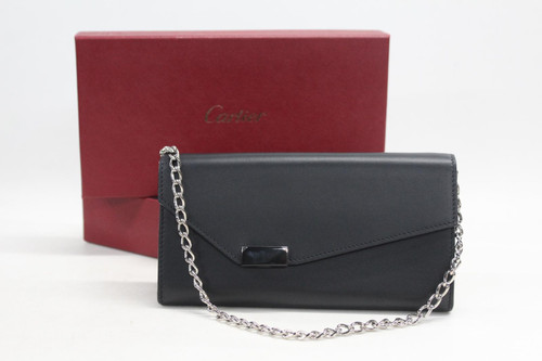 CARTIER Ladies Black Leather Chained Money And Card Slots Clutch Purse Wallet