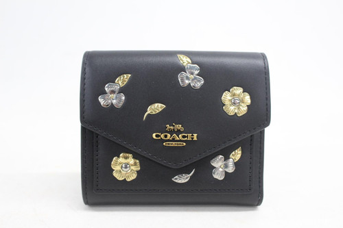 COACH Ladies Small Trifold Black Leather Purse Wallet Painted Fall Floral Print
