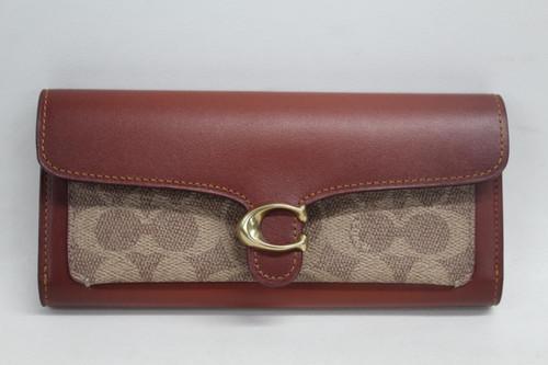 COACH Ladies Leather Colourblock Signature Brown Tan Rust Slim Line Wallet Purse