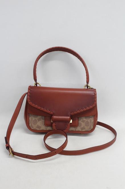 COACH Ladies Brown Leather Cody Shoulder Signature Canvas Whipstitch Handbag
