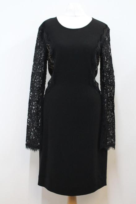 DIANE VON FURSTENBERG Ladies Black Scoop Neck Long Sleeve Evening Dress UK10