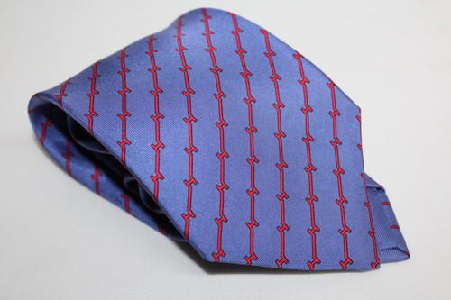 HERMES Men's Blue & Red Silk Lattice Pattern Tie 5470 FA One Size Regular