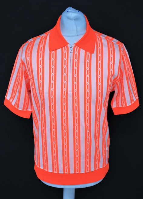 LOUIS VUITTON Men's Orange & White Chains Jacquard Zipped Polo Shirt Size M NEW