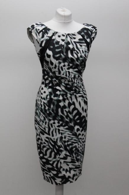 KAREN MILLEN Ladies Black & White Animal Print Gathered Waist Bodycon Dress UK12