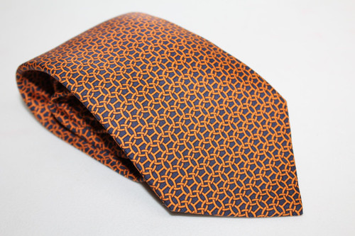 HERMES Men's Orange Silk Lattice Pattern Classic Tie 5400 OA One Size Regular