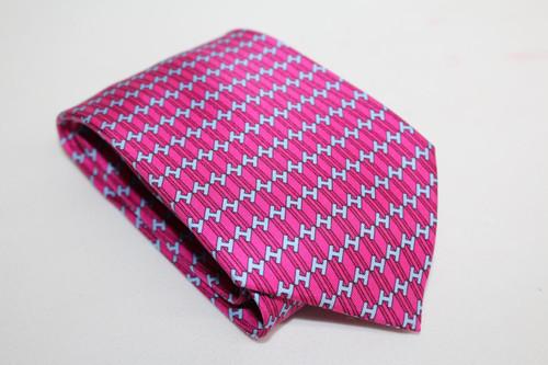HERMES Men's Purple  & Blue Silk H Pattern Classic Tie 5393 OA One Size Regular