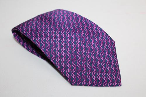 HERMES Men's Purple Silk Twist Stripe Pattern Tie 5467 FA One Size Regular