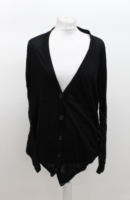 MAISON MARTIN MARGIELA Ladies Black Cotton V Neck Button Front Cardigan M