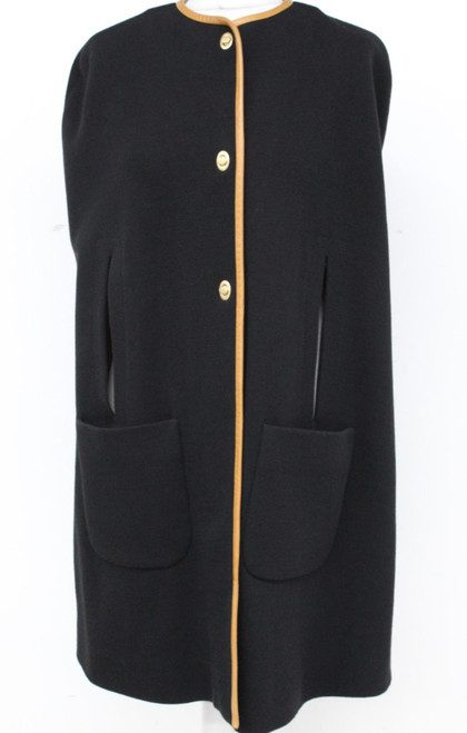 MISSONI Ladies Black Metal Clasp Arm Slits Wrap Jacket Poncho w Pockets UK6