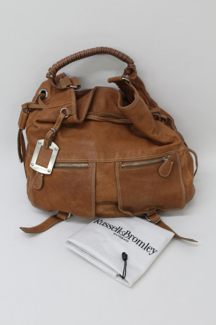 RUSSELL & BROMLEY Ladies Brown Leather Drawstring Tote Handbag Size Large