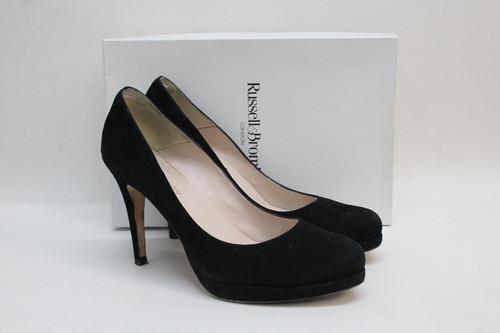 RUSSELL & BROMLEY Ladies Park Ave Black Suede Platform Court Shoes EU41 UK8