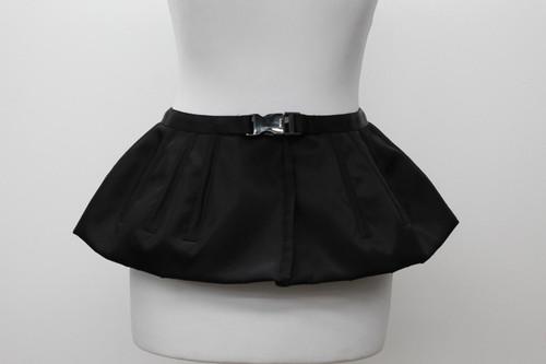 PRADA Ladies Black Silver Tone Buckle Short Peplum Flared Belt Size IT38 UK6