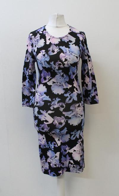 ALEXANDER MCQUEEN Ladies Black Purple Floral Print Round Neck Shift Dress M