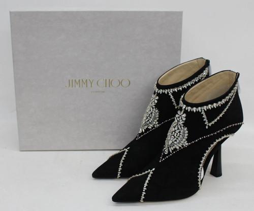 JIMMY CHOO Ladies Black Suede Crystal Embellished Ankle Boots EU40 UK7 BNIB
