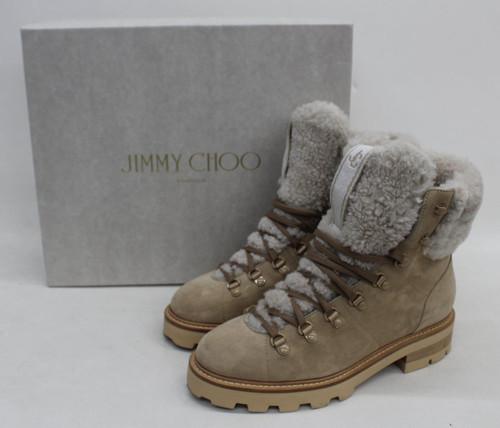 JIMMY CHOO Ladies Beige Suede Eshe Flat Shearling Hiking Boots UK6 EU39 NEW