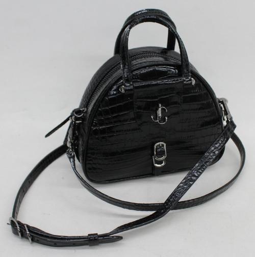 JIMMY CHOO Ladies Black Mini Varenne Croc Print Leather Bowling Bag Handbag
