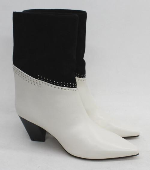 JIMMY CHOO Ladies Bear 65 Ivory/Black Nappa Leather Microstud Boots EU40 UK7 NEW