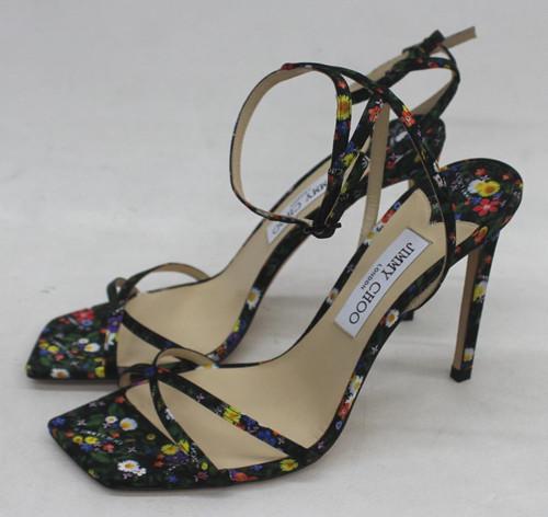 JIMMY CHOO Ladies Black Multicoloured Floral Print Metz Sandals UK7 EU40 NEW