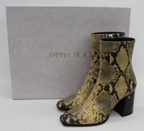 JIMMY CHOO Ladies Brown Bryelle Snake Print Leather Ankle Boots UK6 EU39