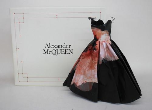 ALEXANDER MCQUEEN Black & Pink Flower Paper Doll Gown Dress 29m Tall w/ Box