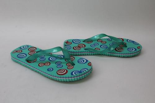 Ladies Light Green Wedge Lightweight Foam Print Flat Thong Sandals EU39 UK6 NEW