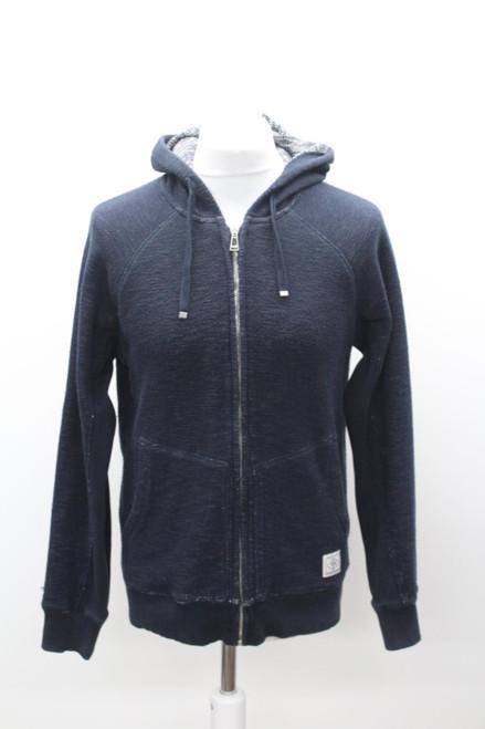 BELSTAFF Men's Navy Blue Cotton Blend Hooded Zip Front Knitted Jacket Size M