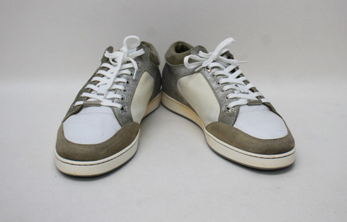 JIMMY CHOO Ladies Silver/Green Olive Miami Low Sneaker Trainer Shoes EU40 UK7