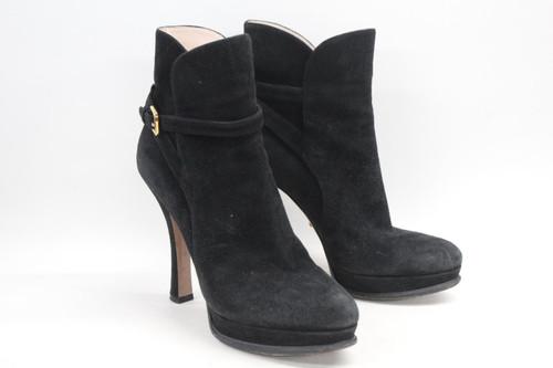 """PRADA Ladies Black Suede Booties Pull On 4.5"""" Ankle Strap Tall Heels EU39 UK6"""