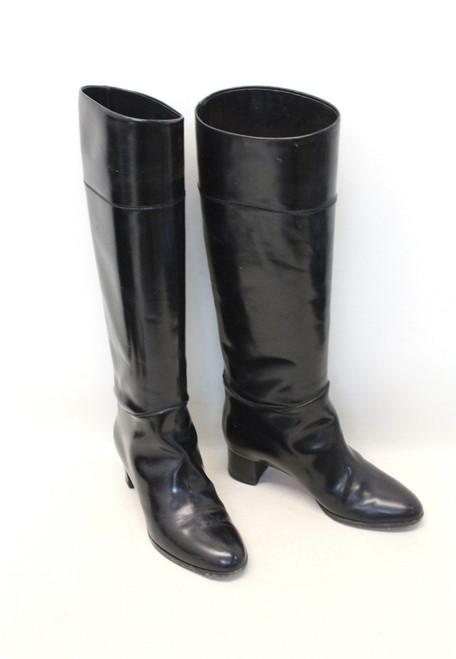 CHRISTIAN LOUBOUTIN Ladies Black Round Toe Block Heel Knee Boots UK3.5 EU36.5