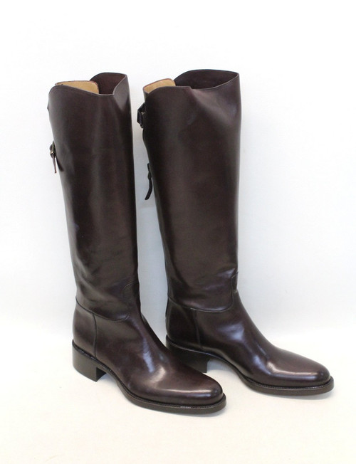 BNIB SARTORE Ladies Brown Leather Round Toe Block Heel Knee High Boots UK2 EU35