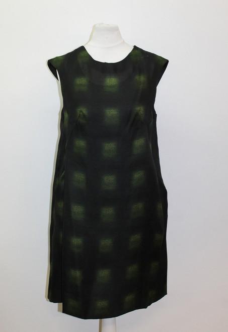 MARNI Ladies Black & Green Cap Sleeve Crew Neck Printed Shift Dress IT38 UK6