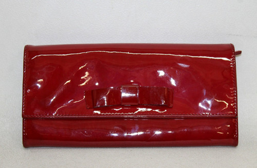 MIU MIU Ladies Red Patent Leather Bow Detail Coin Card Note Slot Purse Wallet