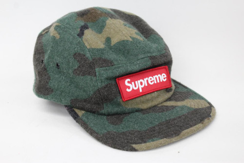 8bc32bfc995 SUPREME Men s Camo Green Wool 5 Panel Box Label Camp Cap Hat One Size BNWT