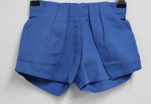 CHLOE Girls Blue Linen Blended Pleat Shorts Elastic Waist Infant 12M BNWT