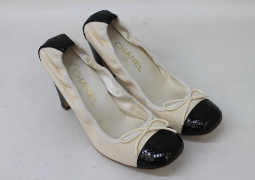 CHANEL Ladies Cream & Black Block Heel Elastic Stretch Shoes UK5.5 EU38.5