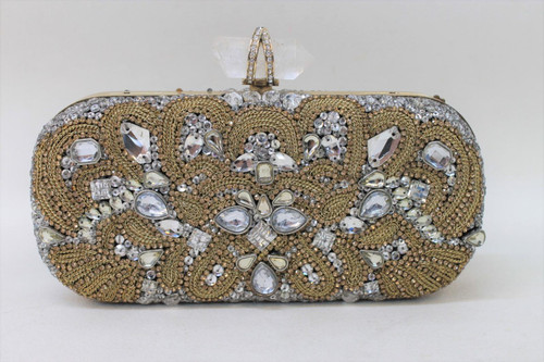MARCHESA Ladies Limited Ed. Gold & Clear Crystal Embellished Clutch Bag Purse