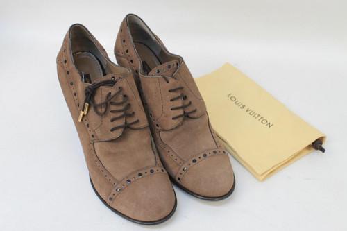 LOUIS VUITTON Ladies Brown Suede High Heel Brogue Detail Shoe Boots UK6.5 EU39.5
