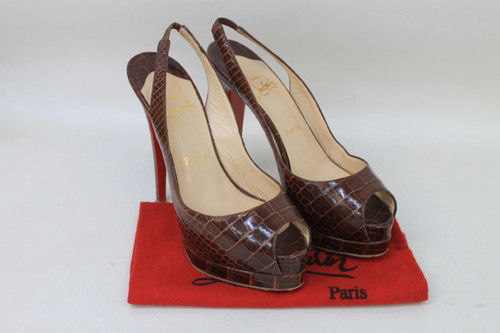CHRISTIAN LOUBOUTIN Ladies Brown Crocodile Slingback Peep Toe Shoes UK4.5 EU37.5