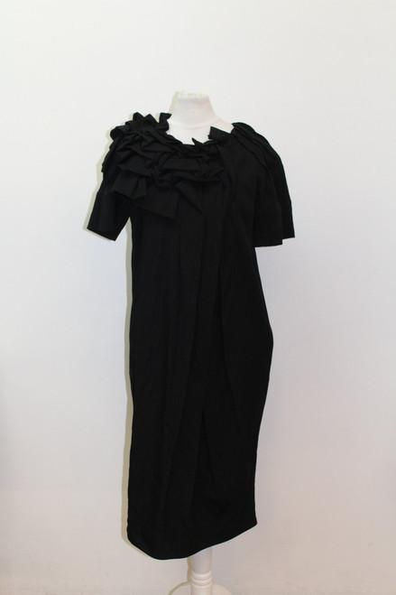 MARNI Ladies Black Wool Blend Short Sleeve Ruffle Detail Shift Dress IT38 UK6