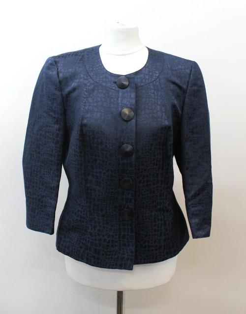 JAEGER Ladies Blue Linen Blend 3/4 Sleeve Crew Neck Collarless Jacket UK10 EU38