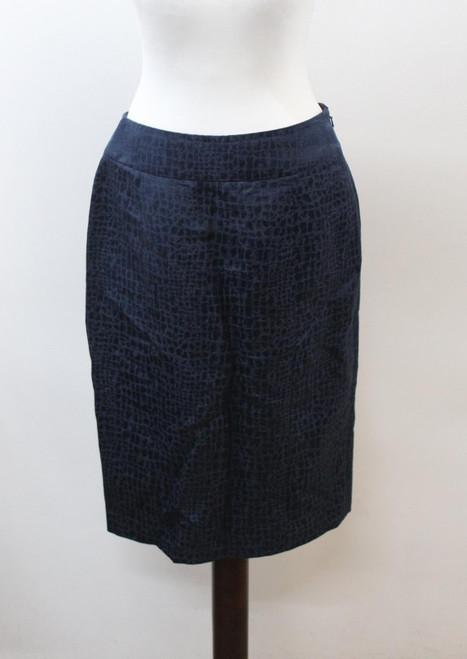 JAEGER Ladies Blue Linen Blend Knee Length Printed Pencil Skirt Size UK12 EU40