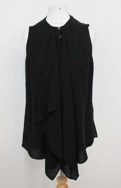 MICHAEL KORS Ladies Black Sleeveless Frills Front Crew Neck Silk Blouse US0 UK4