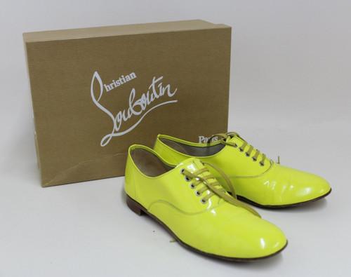 CHRISTIAN LOUBOUTIN Ladies Canary Yellow Lace Up Brogue Shoes EU36 UK3.5