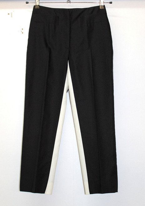 PRADA Ladies Black & White Inner Thigh Contrast Skinny Leg Tailored Trousers W24
